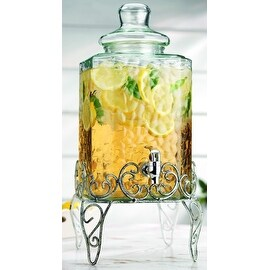Palais Glassware Hammered Glass beverage Dispenser - 2.25 Gallon, with Glass Lid and Antique White Metal Stand