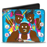 The New Day Booty O'S Group Pose Blue Pinks Yellows White Bi Fold Wallet - One Size Fits most
