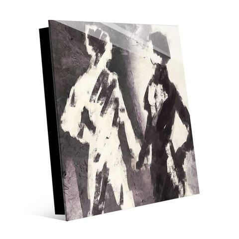 Kathy Ireland Couple Figures Contrast in Gray Abstract on Acrylic Wall Art Print