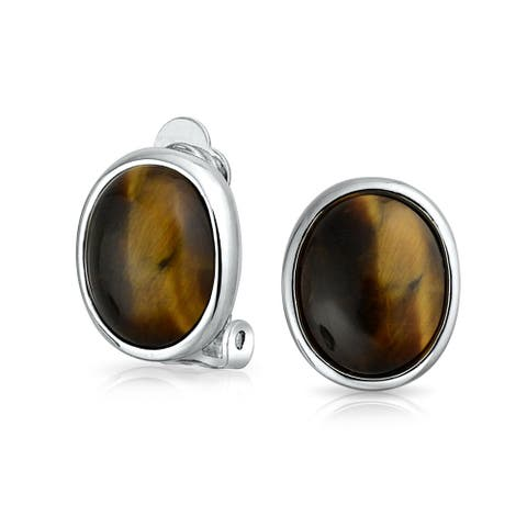 Basic Oval Brown Bezel Set Dome Button Style Clip On Earrings For Women Non Pierced Ears Silver Plated Brass