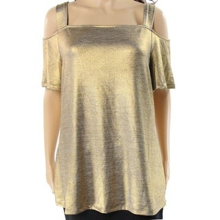 INC NEW Gold Womens Size Small S Cold-Shoulder Metallic Stretch Blouse