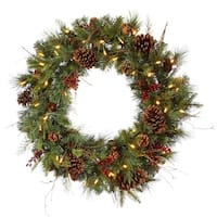"36"" Pre-lit Cibola Mix Berry Pine Artificial Christmas Wreath - Warm Clear LED Lights"