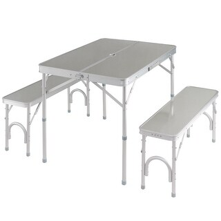 Costway Aluminum Portable Folding Picnic Table Camping Suitcase w/ Bench 4 Seat Outdoor