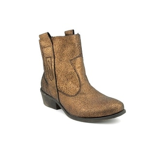 Charles By Charles David Dapper Women Round Toe Leather Bronze Ankle Boot