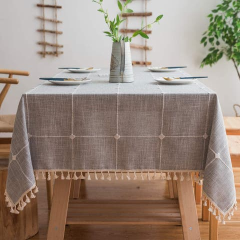 Washable Cotton Linen Solid Embroidery Checkered Design Tablecloth