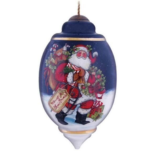 "Ne'Qwa ""Snowy Christmas Eve"" Hand-Painted Blown Glass Christmas Ornament #7131102"