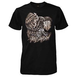 Harley-Davidson Men's Iron Flight Short Sleeve Crew Neck T-Shirt, Solid Black (Option: 3xlt)