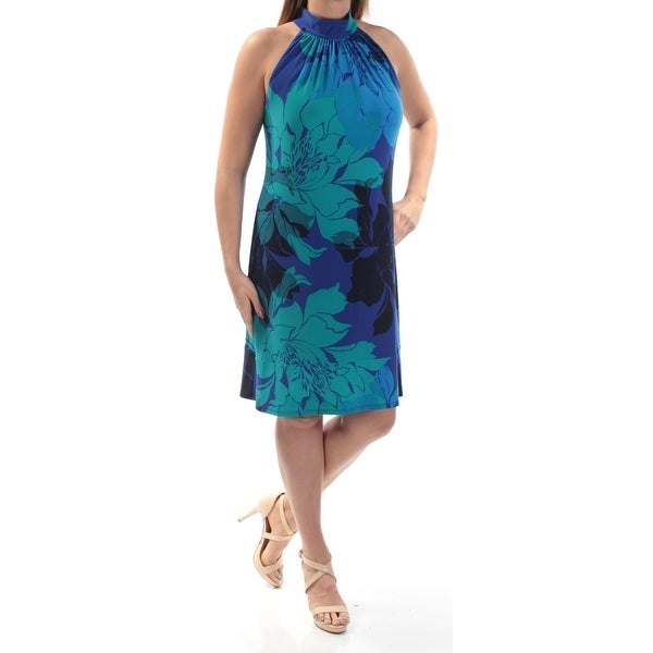 76ca1b7734b79 AMERICAN LIVING Womens Blue Ruffled Floral Sleeveless Halter Knee Length  Shift Dress Size: 16