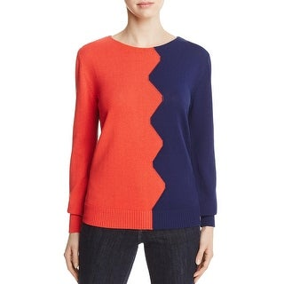 Tory Burch Womens Fleet Pullover Sweater Colorblock Crew Neck - s