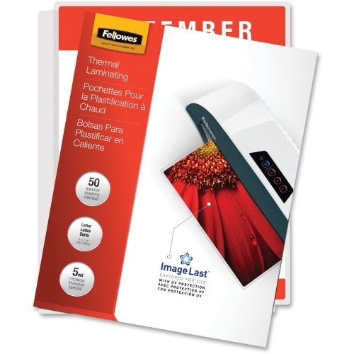 """Fellowes Inc. 5204002 Fellowes Glossy Pouches - 5 mil, Letter, 50 pack - Sheet Size Supported: Letter - Laminating Pouch/Sheet"