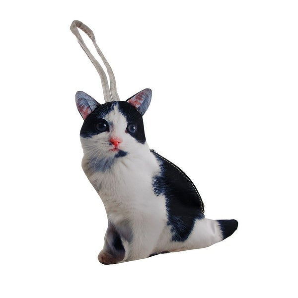 Realistic Black And White Cat Shaped Wristlet