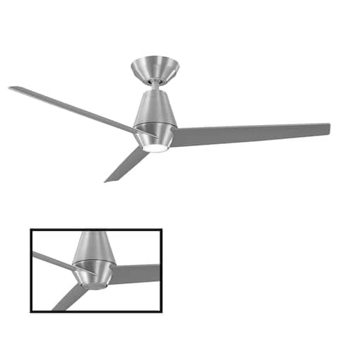 Slim Indoor and Outdoor 3-Blade Smart Ceiling Fan 52in with 3000K LED Light Kit and Remote Control with Wall Cradle