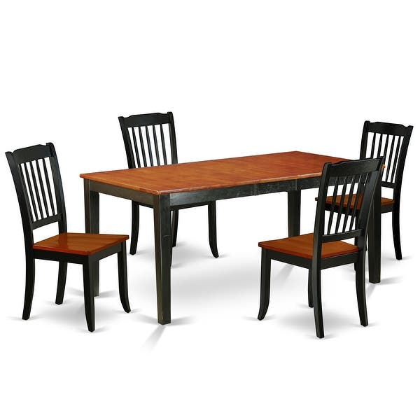Rectangular 54 66 Inch Table With 12 Leaf And 4 Vertical Slatted Chairs Number Of Chairs Option Overstock 28480019