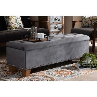 Adrian Grey Velvet Fabric Button-Tufted Storage Ottoman Bench