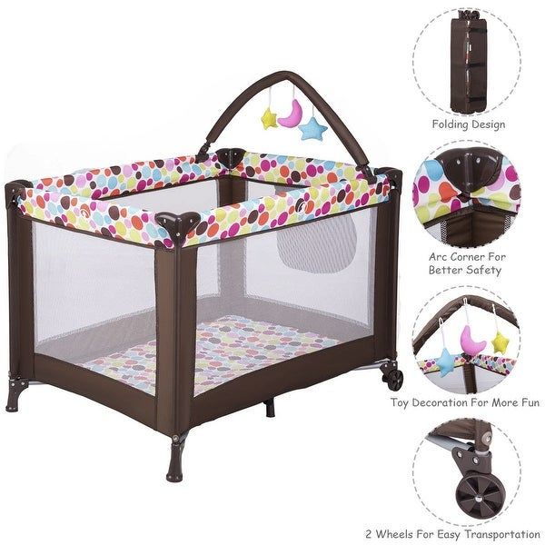 Costway Playard Baby Bassinet Travel Portable Bed Playpen Toddler Foldable - as pic