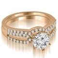 1.15 cttw. 14K Rose Gold Exquisite Split Shank Round Diamond Bridal Set - Thumbnail 0