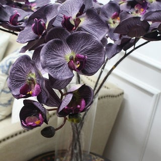 "G Home Collection Luxury Silk Butterfly Orchid Stem in Dark Purple 37"" Tall"