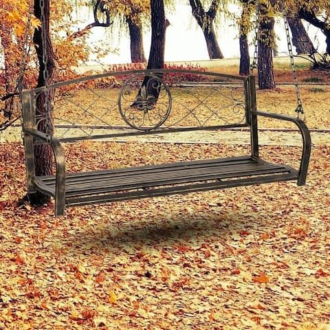 Outdoor Garden Swing Loveseat Metal 2-Seat Chair Vintage Gold