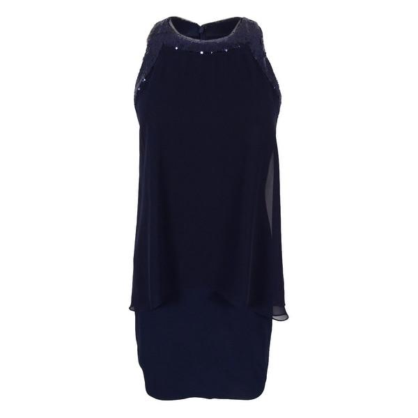 Betsy & Adam Women's Petite Sleeveless Sequined Trim Dress - Navy - 8P