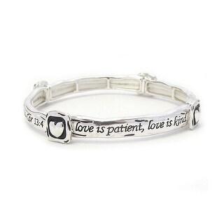 Religious Inspiration Stackable Message Stretch Bracelet-Cor 13:4 - Silver