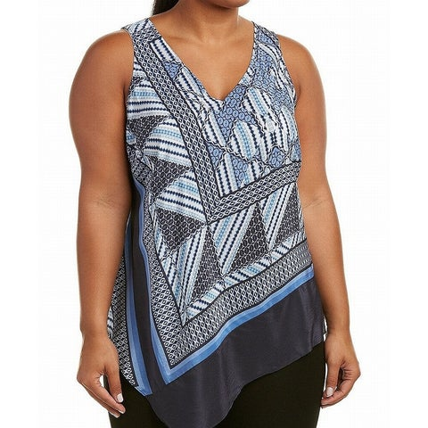 NIC +Zoe Blue Womens Size 2X Plus Asymmetrical Hem Printed Tank Top