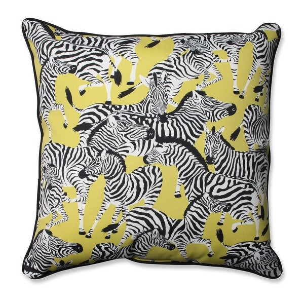 "25"" Zealous Zebra on Yellow Floor Pillow"