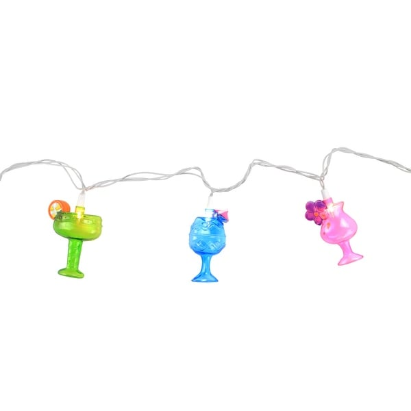 Set of 10 Happy Hour Colorful Cocktails Patio and Garden Novelty Christmas Lights - White Wire