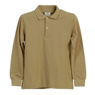 Boys Girls Khaki Long Sleeve School Uniform Polo Shirt 8-16