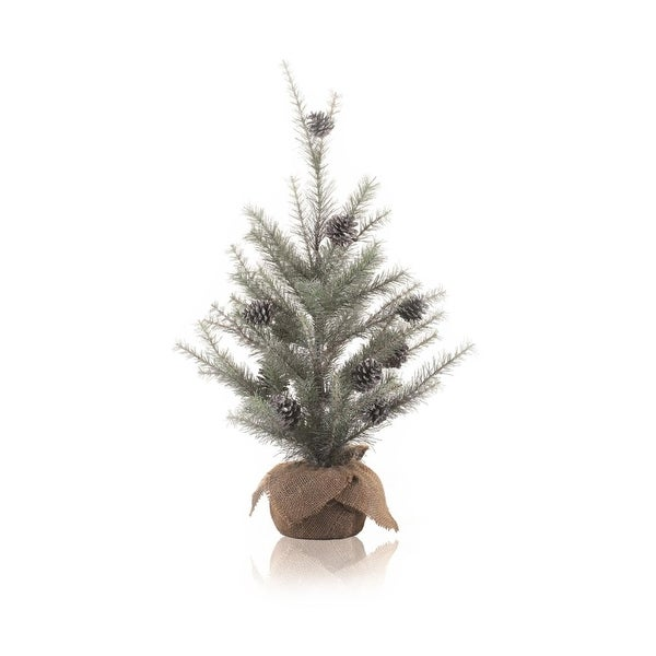 2' Silent Luxury Vintage Glitter Pine Artificial Christmas Tree with Burlap Base - Unlit - silver