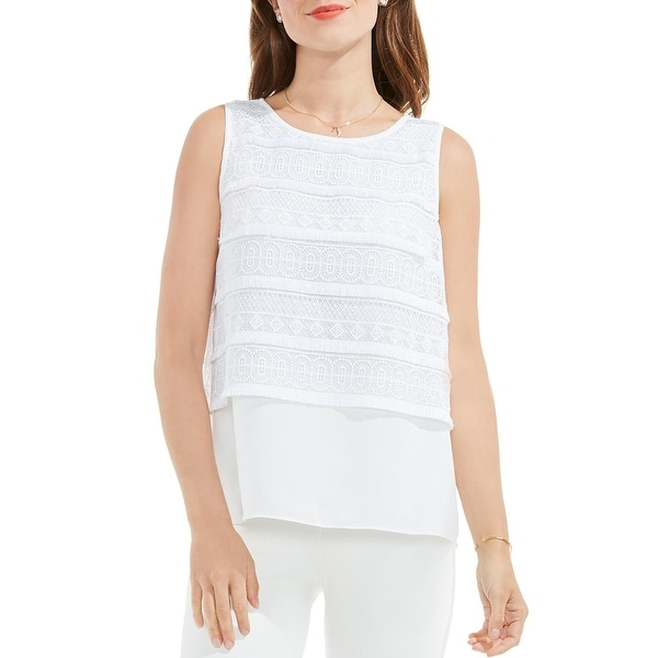 Vince Camuto Womens Tank Top Lace Fringe