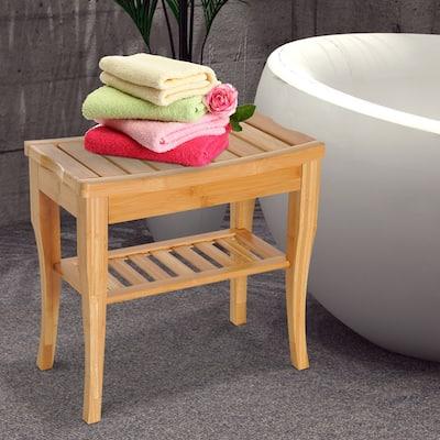 "HomCom 20"" Long Bamboo Wood Shower Bench Seat With Lower Storage Shelf - 10.25*19.75*17.5"