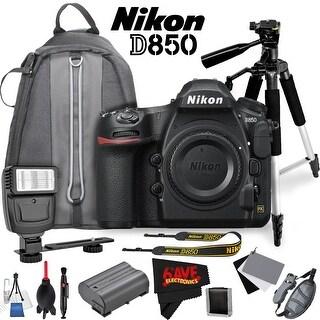 Nikon D850 DSLR Camera (Body Only) 1585 International Model + DSLR Flash + Camera Case Backpack + Professional Tripod Bundle