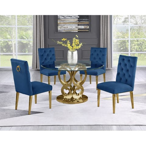 Best Quality Furniture Round Gold Glass 5-pc Dining Set w/ Rings