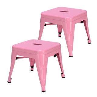 Costway Set of 2 Kids Stool Stackable Metal Children Toddlers Lightweight White/Pink/Blue