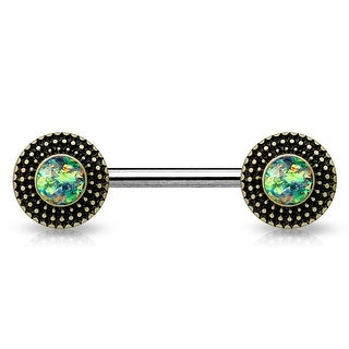 Opal Glitter Center Tribal Shield Ends Surgical Steel Nipple Barbell - 14GA (Sold Ind.)