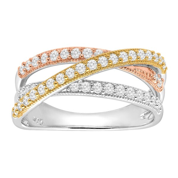 Open Banded Ring with Cubic Zirconia in 14K Three-Tone Gold-Plated Sterling Silver