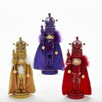 """Pack of 3 Vibrantly Colored King Nutcrackers with Scepter Christmas Decorative Figurine 10.5"""""""