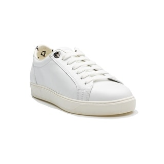 Moncler Maifi Women's Calf Leather Low Top Lace Up Flat Sneaker Shoes White Penguin