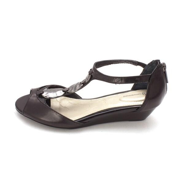 Giani Bernini Womens ELYA Leather Open Toe Ankle Strap Wedge Pumps - 5.5