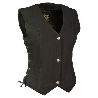 Womens Denim 3 Snap Front Side Laced Vest