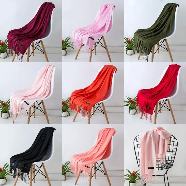 Women Pashmina Cashmere Solid Scarf Shawl Wrap Womens Scarves - Large - L. Opens flyout.