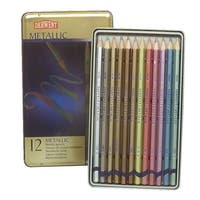 Derwent Metallic Colored Pencils With Tin, Assorted Colors, Set of 12