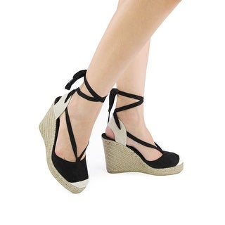 Qupid Womens Knox-02 Lace Up Espadrille Fashion Wedge Sandals
