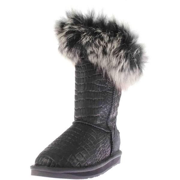 Australia Luxe Womens Foxy Short Casual Boots Sheepskin Crocodile Print
