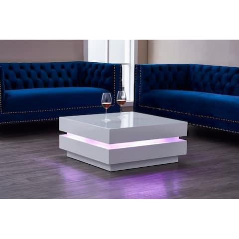 VILLINO II Modern Euro Coffee Table w/ Remote Multi-Colors LED Light