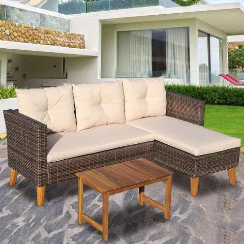 3 Piece Outdoor Sectional Sofa, Brown Wicker, Beige Cushions