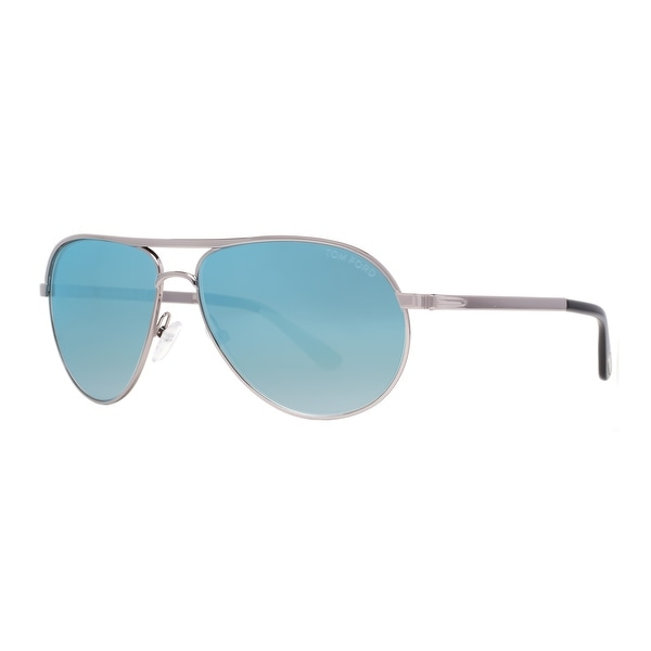 ae2c38d453f409 Tom Ford Marko TF144 14X Light Ruthenium Blue Mirror Men  x27 s Aviator  Sunglasses