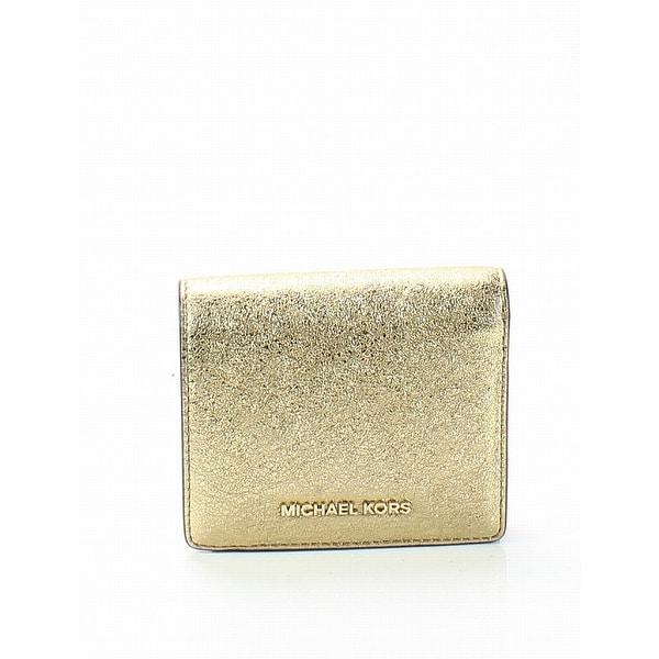 Michael Kors Gold Money Pieces Flap Card Holder Bifold Wallet