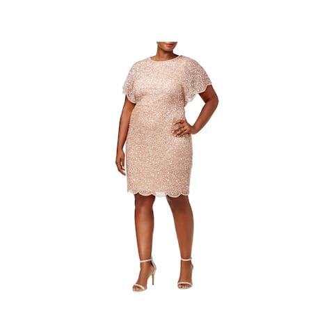 Adrianna Papell Womens Cocktail Dress Sequin Beaded