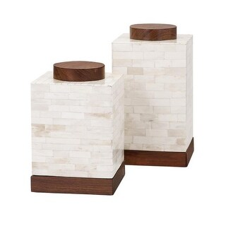 Set of 2 Corner Block Creamy White Bone and Wood Canisters 10""